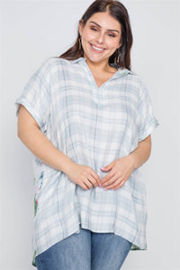 Plus Size Denim Grey Combo Plaid Floral Sort Sleeve Top - FitBeautyTrends