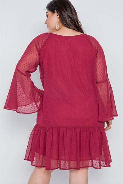 Plus Size Burgundy Bell Sleeves Shirred Dress - FitBeautyTrends