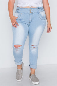 plus Size Light Denim Distresses Skinny Jeans - FitBeautyTrends