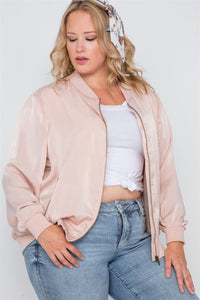Plus Size Pink Maple Sugar Light Bomber Jacket - FitBeautyTrends