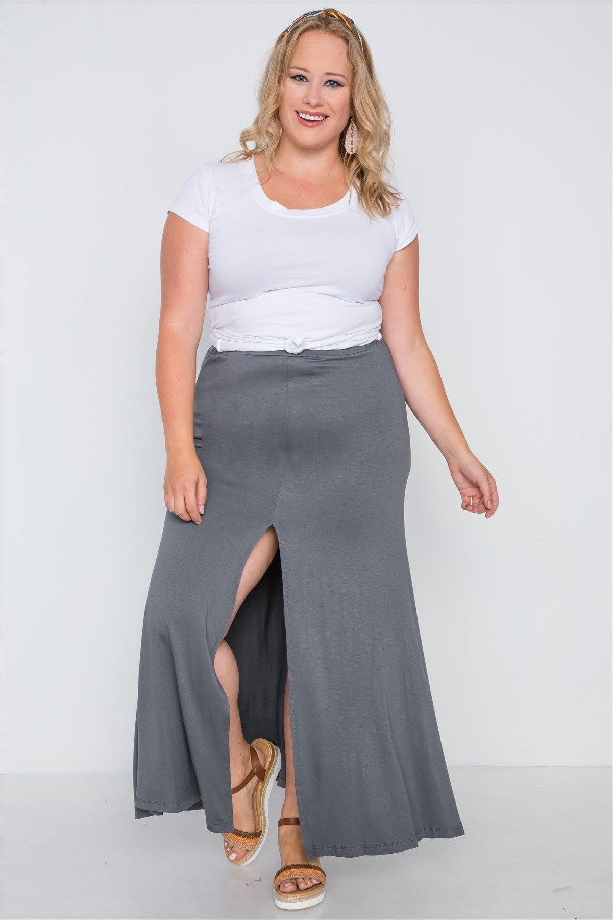 Plus Size Charcoal Basic Front Slit Maxi Skirt - FitBeautyTrends
