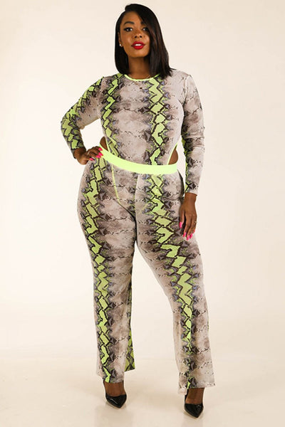 Snake Printed Mesh Bodysuit & Leggings Set - FitBeautyTrends