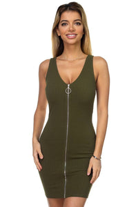 O-ring Front Zipper Up Mini Dress - FitBeautyTrends