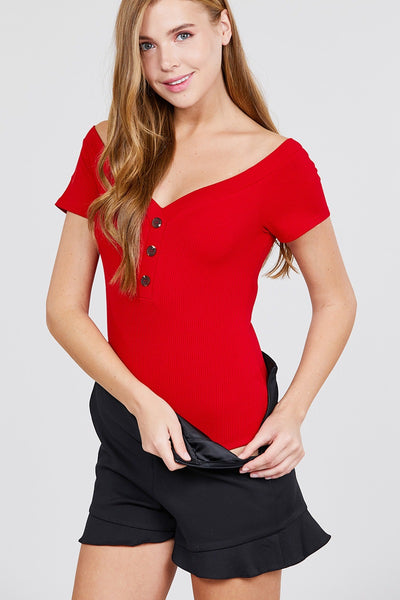 Short Sleeve Off The Shoulder Button Down Heavy Rib Rayon Spandex Knit Bodysuit - FitBeautyTrends