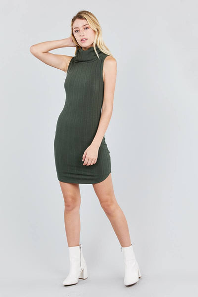 Sleeveless Cowl Neck Rib Mini Dress - FitBeautyTrends