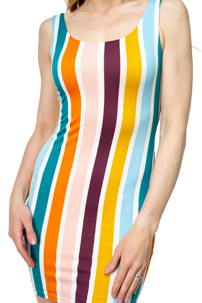 Multi-color Stripe Crepe Dress - FitBeautyTrends