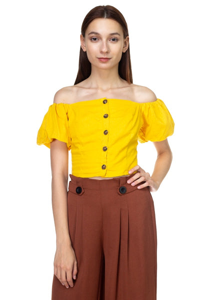 Button Down Puff Sleeve Crop Top - FitBeautyTrends