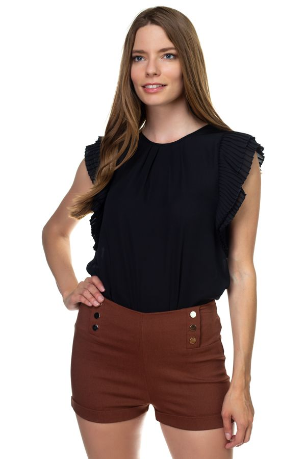 Accordion Pleated Short Sleeve Shirt - FitBeautyTrends