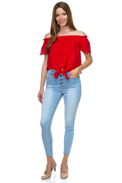 Off Shoulder Cutout Sleeve Top - FitBeautyTrends