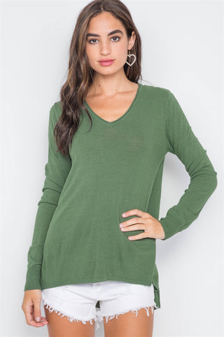 Knit V-neck Casual Solid Long Sleeve Sweater - FitBeautyTrends