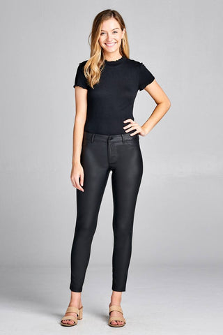 5 Pocket Shape Pu Long Pants