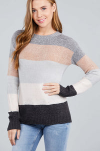 Long Sleeve Round Neck Color Block Sweater - FitBeautyTrends