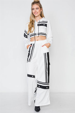 White Knit Color Block Crop Sweater Pant Set - FitBeautyTrends
