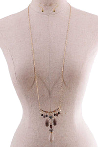 Fashion Multi Stone Drop Necklace - FitBeautyTrends