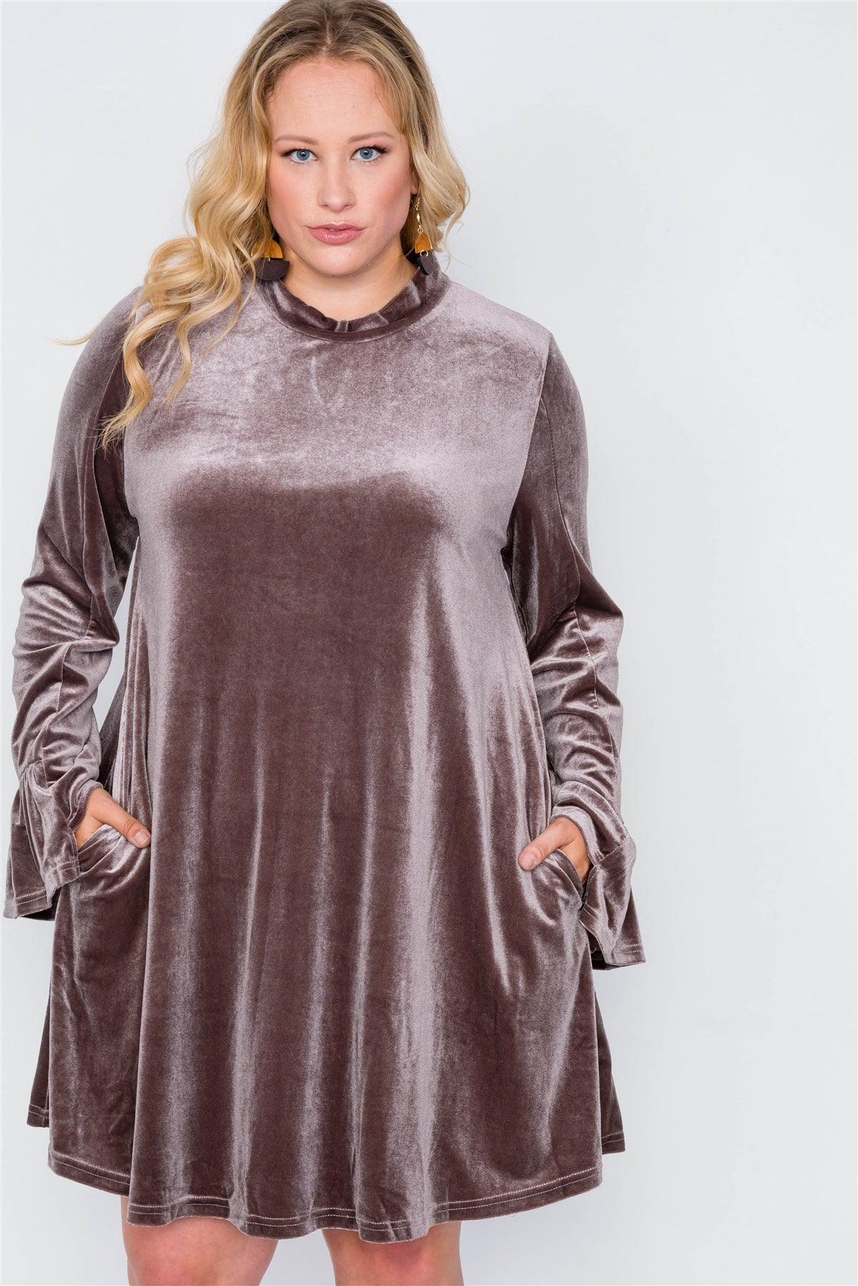 Plus Size Velvet Long Sleeve Mini Dress - FitBeautyTrends