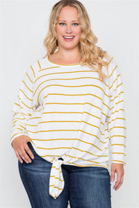 Plus Size Ivory Mustard Stripe Soft Long Sleeve Top - FitBeautyTrends