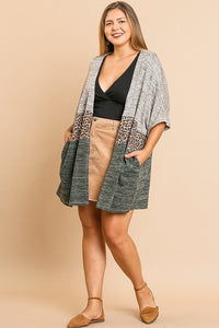 Short Sleeve Knit And Animal Print Color Blocked Open Front Kimono - FitBeautyTrends