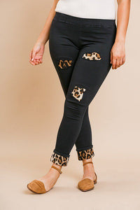 Skinny Pants With Animal Print Patches And Rolled Cuff Hem - FitBeautyTrends