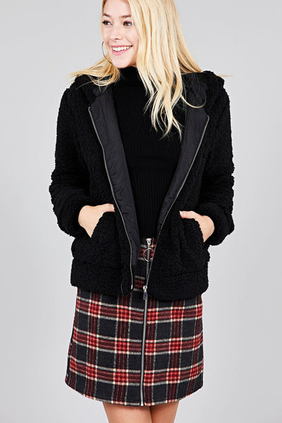 Hoodie Side Pocket Faux Fur Zip-up Jacket - FitBeautyTrends