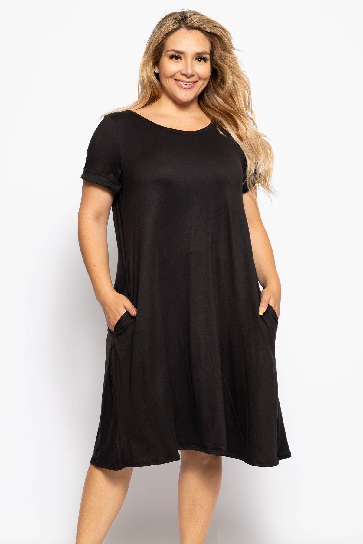 Crew Neckline Solid A-line Dress - FitBeautyTrends