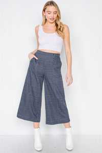 Knit Side Button Wide Leg Ankle Pants - FitBeautyTrends