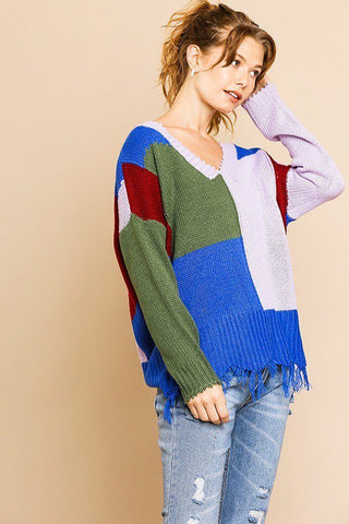 Color Blocked Long Sleeve V-neck Knit Pullover Sweater - FitBeautyTrends