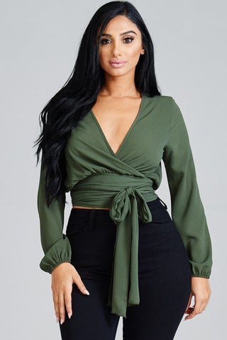 Solid Kibosh Tie Wrap Around Top - FitBeautyTrends