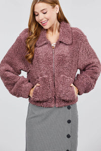 Long Sleeve Pouch Pocket W/collar Faux Fur Jacket - FitBeautyTrends