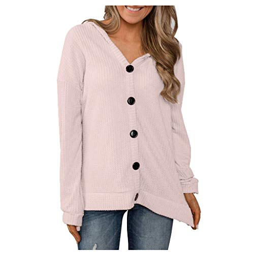 KLFGJ Ladies Cardigans with Button Women Long Sleeve Blouse Lightweight Solid Color Pullover Leisure Coats V-Neck Shirts