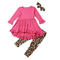 Toddler Kids Baby Girls Ruffled Tops Dress Leopard Leggings Headbands Outfitsfor 1-6 Years Old