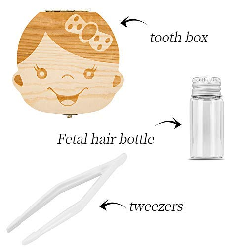 Baby Tooth Box ,Wooden Kids Keepsake Organizer for Baby Teeth, Cute Children Tooth Container with Tweezers and lanugo Bottle to Keep the Childhood Memory (Girl)