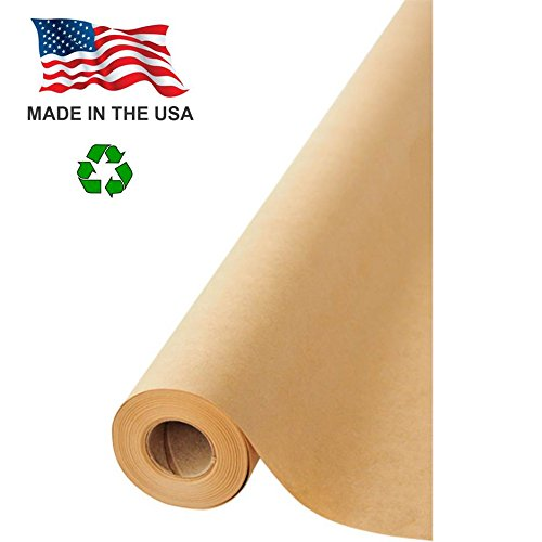 "Made in USA Kraft Paper Wide Jumbo Roll 48"" x 1200"" (100ft) Ideal for Gift Wrapping, Art, Craft, Postal, Packing, Shipping, Floor Protection, Dunnage, Parcel, Table Runner, 100% Recycled Material"