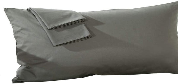 Ambition Home Body Pillowcase 20x48 Dark Grey Body Pillow Cover 100% Egyptian Cotton Hotel Quality Laxuries 1-Pieces Body Pillow Case Genuine 600 Thread Count Zipper Body Pillow 20x48 Dark Grey Solid