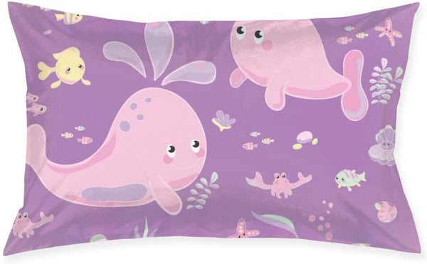 Yunshm Cute Pink Whale Baby Pillow Cas Rectangular Printed Pillowcase Invisible Zipper Without Insert 20''x30'' Personalized