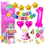Baby Girl First Birthday Party Decorations Mega Set | Birthday Banner, Cake Topper, 1 Year Party Hat, Colorful Balloons, ONE Highchair Banner, Foil Fringe Backdrop More | Magenta Gold Rainbow Colorful