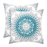 CaliTime Pack of 2 Cozy Fleece Throw Pillow Cases Covers for Couch Bed Sofa Farmhouse Decoration Dahlia Floral Medallion Compass Mandala Style 18 X 18 Inches Teal Grey