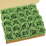 N&T NIETING Roses Artificial Flowers, 25pcs Real Touch Artificial Foam Roses Decoration DIY for Wedding Bridesmaid Bridal Bouquets Centerpieces, Party Decoration, Home Display (SeriesA Red)