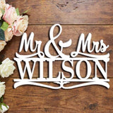 Custom Personalized Mr & Mrs with Last Name Wedding Wall Sign Door Hanger