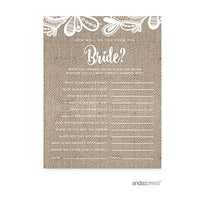 Andaz Press Burlap Lace Wedding Collection, Cupcake Topper DIY Party Favors Kit, 20-Pack