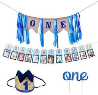 Hot Bear 1st Birthday Decoration ,First Birthday Banner Boy Supplies Includes Baby Photo Banner 12 Months Banner, 1st Birthday Bunting Garland for Baby Birthday,No.1 Crown, Glitter Cake Topper