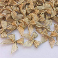 100 Pcs Mini Gold Ribbon Bows Crafts Party Decoration