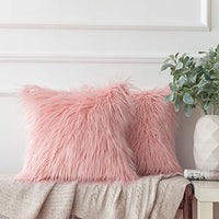 Ashler Pack of 2 Decorative Luxury Style Pink Faux Fur Throw Pillow Case Cushion Cover 18 x 18 Inches 45 x 45 cm