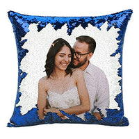 "Custom Pillow, 16""x16""Personalized Custom Photo Sequin Pillow with Your Photos(Including Pillow Insertion) - Wedding Keepsake Pillow Magic Reversible Home Decor Personalized Customized Gifts (Red)"