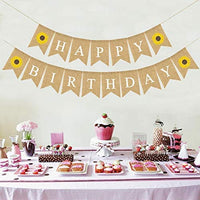 Happy Birthday Banner Bunting Decorative Burlap Banner Sunflower Pattern Flag Party Supplies
