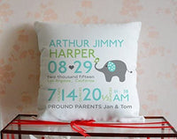 Cbojiuy Personalized Baby Birth Announcement Baby Elephant Decorative Pillow Cover 18x18 inches