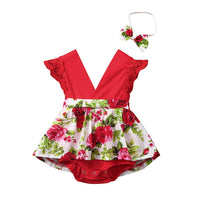 Baby Girls Tops Outfits,Infant Baby Girls Sleeveless Floral Printed Bodysuit Romper + Headband for 3-6 Months