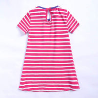RAINED-Baby Girls Animal Stripe Cotton Dress Summer Cartoon Short Sleeve Dress Cover Up Casual Mermaid Print Clothes