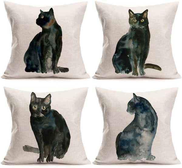 Asamour Watercolor Ink Painting Black Cat Cotton Linen Throw Pillow Case Home Decorative Cushion Cover Standard Burlap Pillowcase for Sofa Bedding 18''x18'' Set of 4