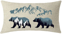 ITFRO Set of 4 Happy Camper Forest Starry Backdrop Wild Animals Deer Bear Dogs Cats Mountains Beige Lumbar Waist Burlap Pillowcase Pillow Case Cushion Covers Sofa Decorative Rectangle 12x20 Inch