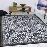 "Antep Rugs Casa Azul Collection Geometric Floral Non-Skid (Non-Slip) Low Profile Pile Rubber Backing Indoor Area Runner Rug (Grey, 1'10"" x 7')"